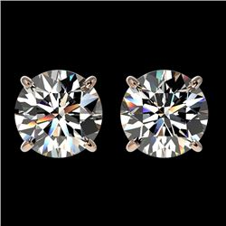 2 CTW Certified H-SI/I Quality Diamond Solitaire Stud Earrings 10K Rose Gold - REF-285N2A - 33081