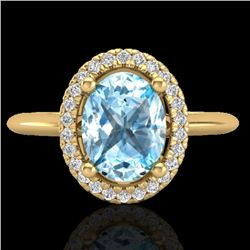 2 CTW Sky Blue Topaz & Micro VS/SI Diamond Ring Solitaire Halo 18K Yellow Gold - REF-48H7M - 21005