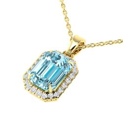 6 CTW Sky Blue Topaz And Micro Pave VS/SI Diamond Halo Necklace 18K Yellow Gold - REF-51F8N - 21354