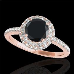 1.60 CTW Certified VS Black Diamond Solitaire Halo Ring 10K Rose Gold - REF-75A3V - 33674