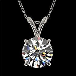 1.30 CTW Certified H-SI/I Quality Diamond Solitaire Necklace 10K White Gold - REF-240R2K - 36782