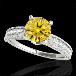 1.50 CTW Certified SI Intense Yellow Diamond Solitaire Antique Ring 10K White Gold - REF-221V8Y - 34