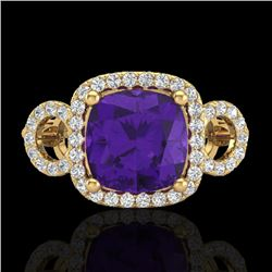 3.75 CTW Amethyst & Micro VS/SI Diamond Certified Ring 18K Yellow Gold - REF-65X8R - 22997