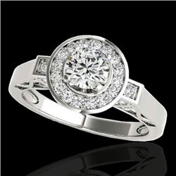 1.50 CTW H-SI/I Certified Diamond Solitaire Halo Ring 10K White Gold - REF-180A2V - 34567