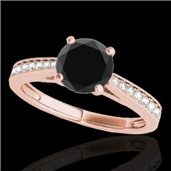 1.25 CTW Certified VS Black Diamond Solitaire Ring 10K Rose Gold - REF-54W2H - 35009