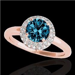 1.43 CTW SI Certified Fancy Blue Diamond Solitaire Halo Ring 10K Rose Gold - REF-169N3A - 33667