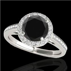 1.30 CTW Certified VS Black Diamond Solitaire Halo Ring 10K White & Rose Gold - REF-64R9K - 34339
