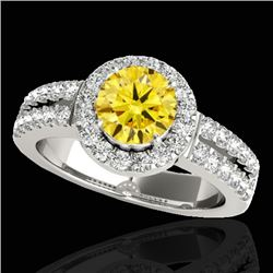 1.50 CTW Certified SI/I Fancy Intense Yellow Diamond Solitaire Halo Ring 10K White Gold - REF-180H2M