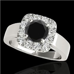 1.55 CTW Certified VS Black Diamond Solitaire Halo Ring 10K White Gold - REF-90A7V - 34241