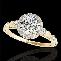 1.25 CTW H-SI/I Certified Diamond Solitaire Halo Ring 10K Yellow Gold - REF-160K2W - 33618