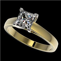 1.25 CTW Certified VS/SI Quality Princess Diamond Solitaire Ring 10K Yellow Gold - REF-372K3W - 3301