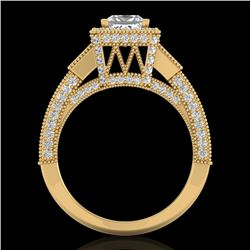 3.53 CTW Princess VS/SI Diamond Micro Pave 3 Stone Ring 18K Yellow Gold - REF-618K2W - 37177