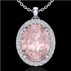 2.75 CTW Morganite & Micro VS/SI Diamond Halo Solitaire Necklace 18K White Gold - REF-82F7N - 20593
