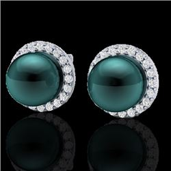0.50 CTW Micro Halo VS/SI Diamond & Peacock Pearl Earrings 18K White Gold - REF-61H5M - 21499