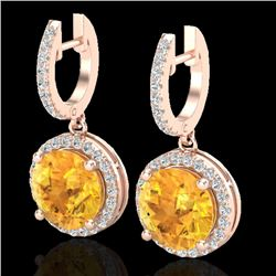 4 CTW Citrine & Micro Pave VS/SI Diamond Certified Designer Halo 14K Rose Gold - REF-72W7H - 23179