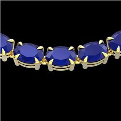 68 CTW Sapphire Eternity Designer Inspired Tennis Necklace 14K Yellow Gold - REF-234M9F - 23404