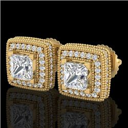 2.01 CTW Princess VS/SI Diamond Art Deco Stud Earrings 18K Yellow Gold - REF-245X5R - 37129