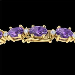 25.8 CTW Amethyst & VS/SI Certified Diamond Eternity Bracelet 10K Yellow Gold - REF-122A9V - 29443