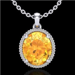 10 CTW Citrine & Micro Pave VS/SI Diamond Certified Halo Necklace 18K White Gold - REF-75F5N - 20607