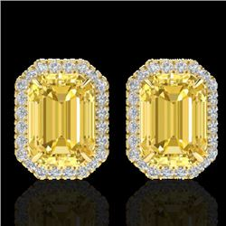 8.40 CTW Citrine & Micro Pave VS/SI Diamond Halo Earrings 18K Yellow Gold - REF-73N3A - 21223