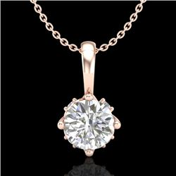 0.62 CTW VS/SI Diamond Solitaire Art Deco Stud Necklace 18K Rose Gold - REF-101M8F - 37023