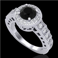 1.53 CTW Fancy Black Diamond Solitaire Engagement Art Deco Ring 18K White Gold - REF-161F8N - 37646