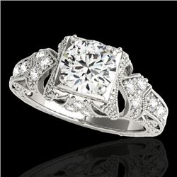 1.25 CTW H-SI/I Certified Diamond Solitaire Antique Ring 10K White Gold - REF-214F5N - 34666