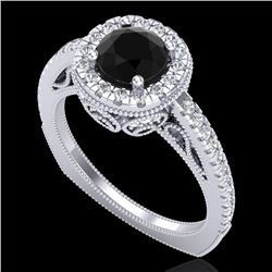 1.55 CTW Fancy Black Diamond Solitaire Engagement Art Deco Ring 18K White Gold - REF-136W4H - 37982