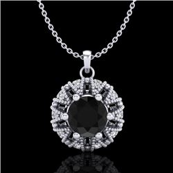 1.20 CTW Fancy Black Diamond Art Deco Micro Pave Stud Necklace 18K White Gold - REF-82A7V - 37737