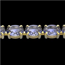 24 CTW Tanzanite Eternity Designer Inspired Tennis Bracelet 14K Yellow Gold - REF-218M2F - 23397