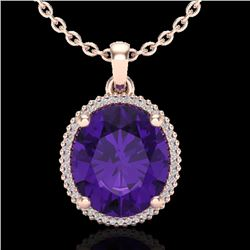 10 CTW Amethyst & Micro Pave VS/SI Diamond Halo Necklace 14K Rose Gold - REF-66X2R - 20600