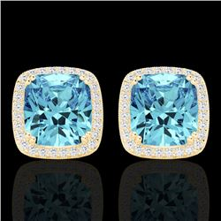 6.50 CTW Sky Blue Topaz & Micro VS/SI Diamond Halo Earrings 18K Yellow Gold - REF-75V6Y - 22814