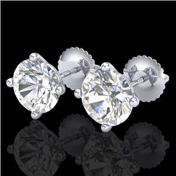 3.01 CTW VS/SI Diamond Solitaire Art Deco Stud Earrings 18K White Gold - REF-927N3A - 37310