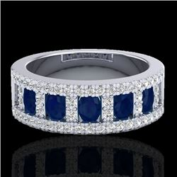 2.34 CTW Sapphire & Micro Pave VS/SI Diamond Inspired Ring 10K White Gold - REF-61V8Y - 20828