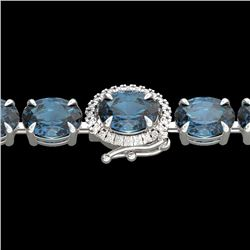 36 CTW London Blue Topaz & VS/SI Diamond Tennis Micro Halo Bracelet 14K White Gold - REF-128M9F - 23
