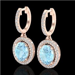 3.25 CTW Aquamarine & Micro Pave VS/SI Diamond Earrings Halo 14K Rose Gold - REF-99N6A - 20310