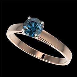 0.75 CTW Certified Intense Blue SI Diamond Solitaire Engagement Ring 10K Rose Gold - REF-70A5V - 329