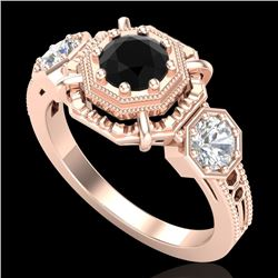 1.01 CTW Fancy Black Diamond Solitaire Art Deco 3 Stone Ring 18K Rose Gold - REF-96X4R - 37465