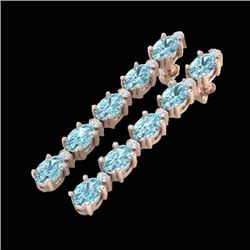 6 CTW Sky Blue Topaz & VS/SI Diamond Certified Tennis Earrings 10K Rose Gold - REF-38R2K - 21514