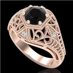 1.07 CTW Fancy Black Diamond Solitaire Engagement Art Deco Ring 18K Rose Gold - REF-85F5N - 37549