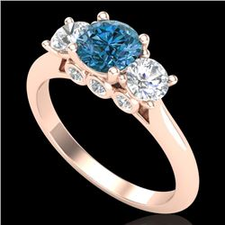 1.50 CTW Intense Blue Diamond Solitaire Art Deco 3 Stone Ring 18K Rose Gold - REF-174K5W - 38266