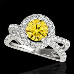 2.01 CTW Certified SI/I Fancy Intense Yellow Diamond Solitaire Halo Ring 10K White Gold - REF-209V3Y