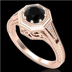 0.84 CTW Fancy Black Diamond Solitaire Engagement Art Deco Ring 18K Rose Gold - REF-89H3M - 37927