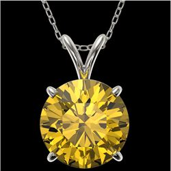 2.50 CTW Certified Intense Yellow SI Diamond Solitaire Necklace 10K White Gold - REF-687V2Y - 33248