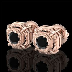 1.11 CTW Fancy Black Diamond Solitaire Art Deco Stud Earrings 18K Rose Gold - REF-100N2A - 37451