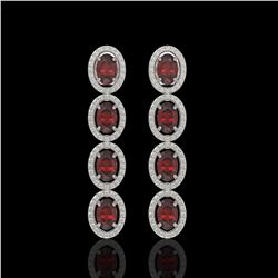 6.2 CTW Garnet & Diamond Earrings White Gold 10K White Gold - REF-102W5H - 40940