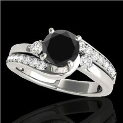 1.50 CTW Certified VS Black Diamond Bypass Solitaire Ring 10K White Gold - REF-74W4H - 35094
