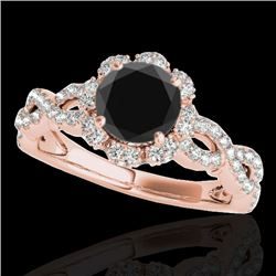 1.69 CTW Certified VS Black Diamond Solitaire Halo Ring 10K Rose Gold - REF-89F3N - 34109