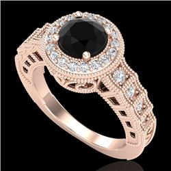 1.53 CTW Fancy Black Diamond Solitaire Engagement Art Deco Ring 18K Rose Gold - REF-161A8V - 37647