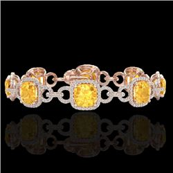30 CTW Citrine & Micro VS/SI Diamond Certified Bracelet 14K Rose Gold - REF-368Y9X - 23019